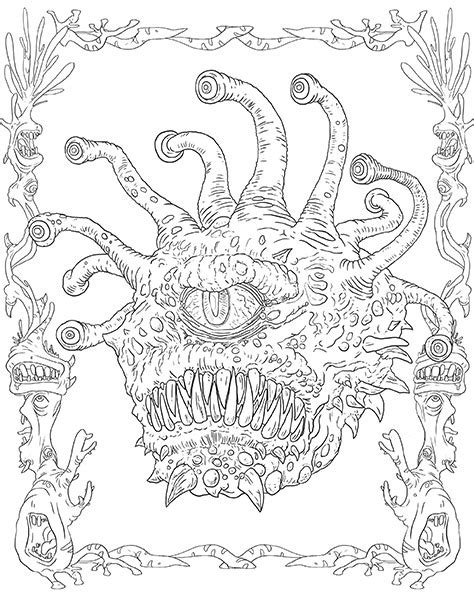 coloring pages dungeons and dragons monsters and heroes of the realms a dungeons dragons