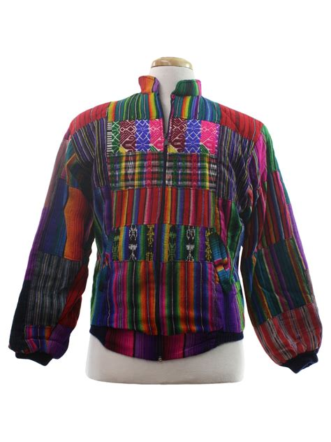 Vintage Colored Striped Print Jacket 1980 s vintage jacket 80s no label unisex bright multi