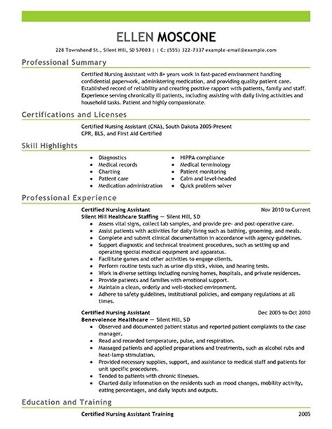 Nursing Assistant Resume Builder Skills For Cna Resume Best Resume Gallery