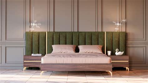 nova domus calabria modern walnut green velvet bedroom set