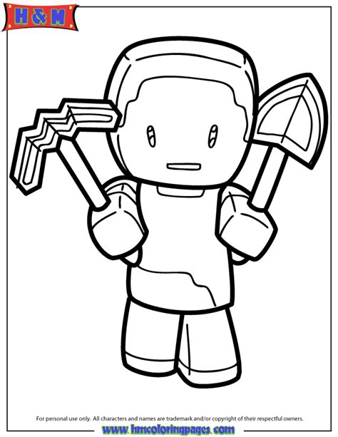 free coloring pages of minecraft steve hm