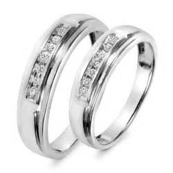 wedding ring sets his and hers white gold 1 1 8 carat t w diamond his and hers wedding band set 10k