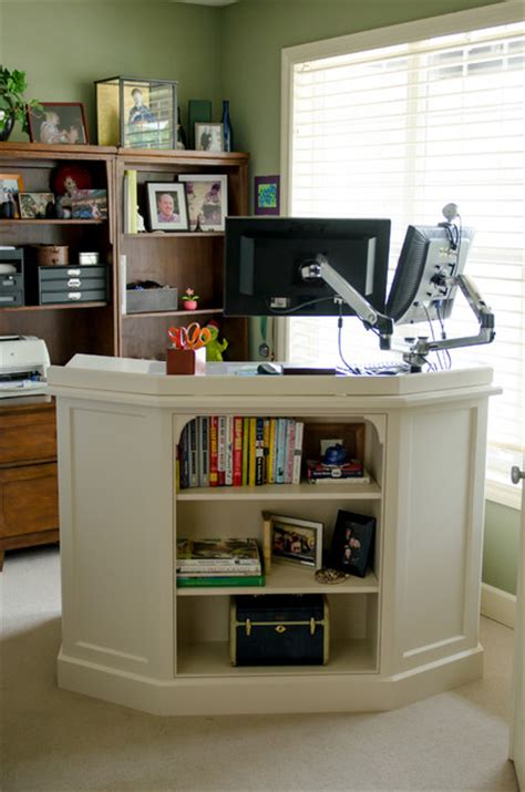 home office with standing desk traditional portland