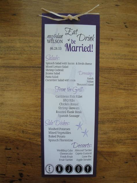 menu cards for wedding reception diy wedding reception menu cards diy do it your self