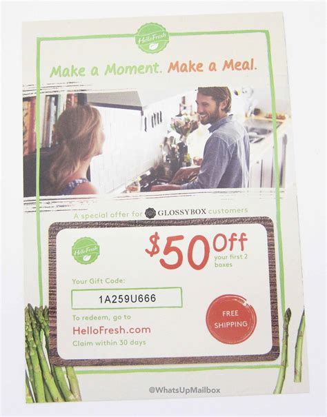 Hello Fresh Gift Card - glossybox july 2016 review 2 free boxes coupon what s up mailbox