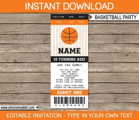Basketball Ticket Invitation Template Birthday Party Basketball Ticket Template Free