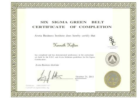 28 green belt certificate template six sigma green