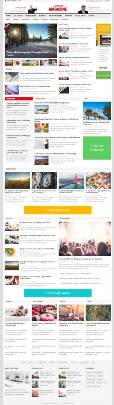 advanced layout wordpress advanced magazine review happythemes good