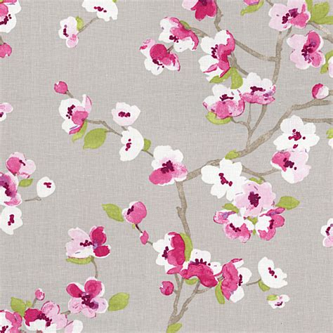 Cherry Blossom Upholstery Fabric gray magenta cherry blossom linen fabric contemporary