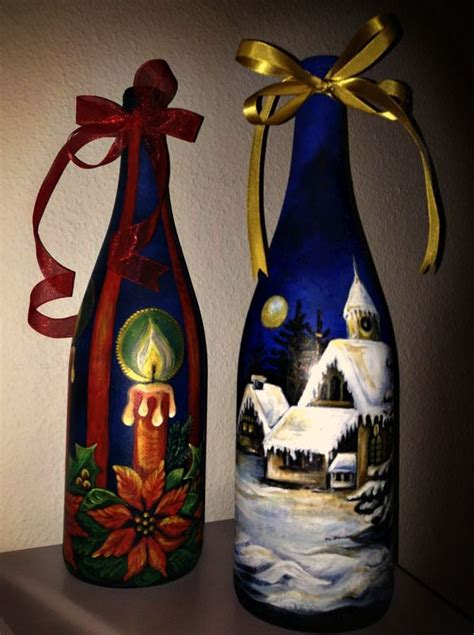 decorated wine bottles hand painted set of wine bottles christmas gifts decorated bottles of wine hand painted