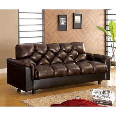 Brown Faux Leather Futon by Shop Furniture Of America Bowie Brown Faux Leather