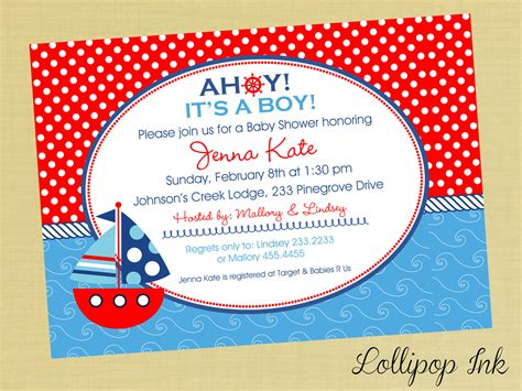 Nautical Theme Baby Shower Invitations by Nautical Baby Shower Invitations Invitations Card