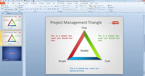 Free Project Management Triangle Diagram For Powerpoint Project Management Powerpoint Presentation Template