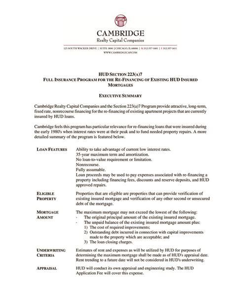 Section 7 Summary by Hud Section 223 A 7 Executive Summary