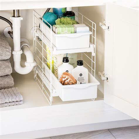 trinity sliding under sink organizer iris sliding 2 drawer organizer the container store
