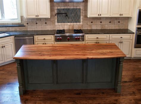 spalted pecan custom wood countertops butcher block antiqued white kitchen island with granite top and two