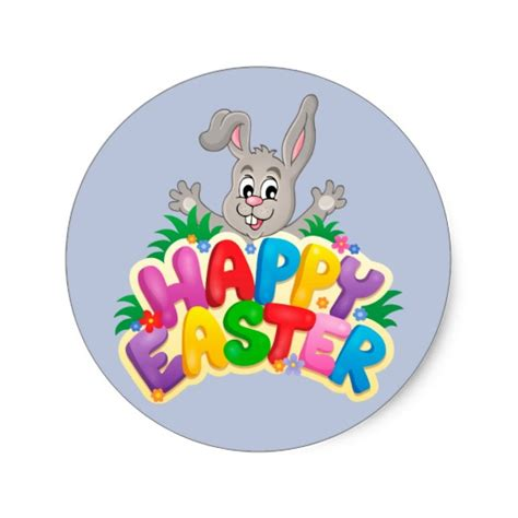 happy stickers happy easter bunny with text classic sticker happy