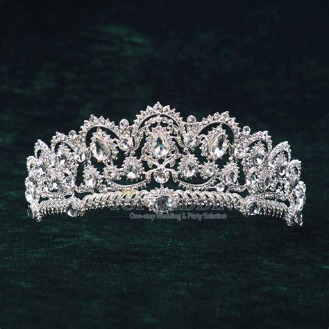 Luxury Sparkling Silver Plated Austrian Princess Tiara austrian jeweled tiara rhinestone bridal