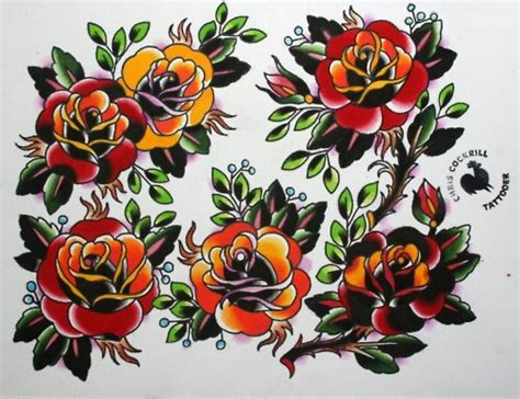 rose tattoo traditional american traditional black image details