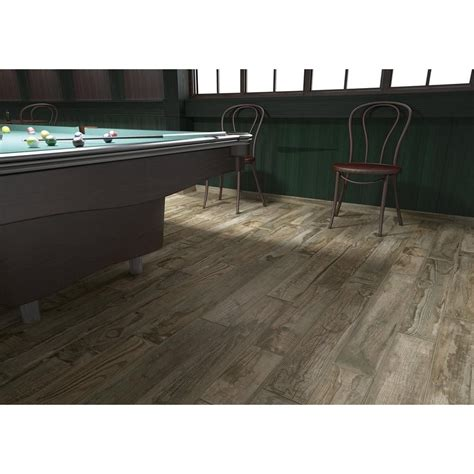 salvage musk wood plank porcelain tile 6in x 40in