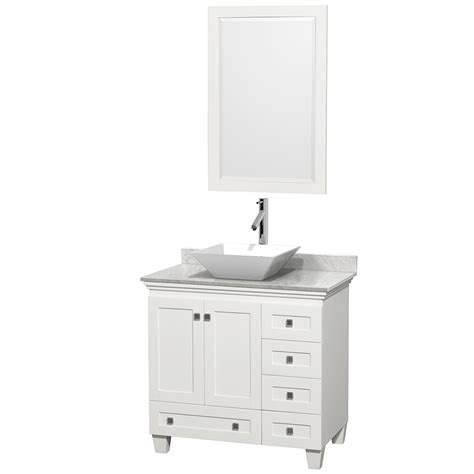 36 White Bathroom Vanity Wyndham Collection Wcv800036swhcmd2wm24 Acclaim 36 Inch Single Bathroom Vanity In White White