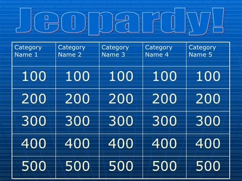 Classroom Jeopardy Template Elements And Principles Of Classroom Jeopardy Template