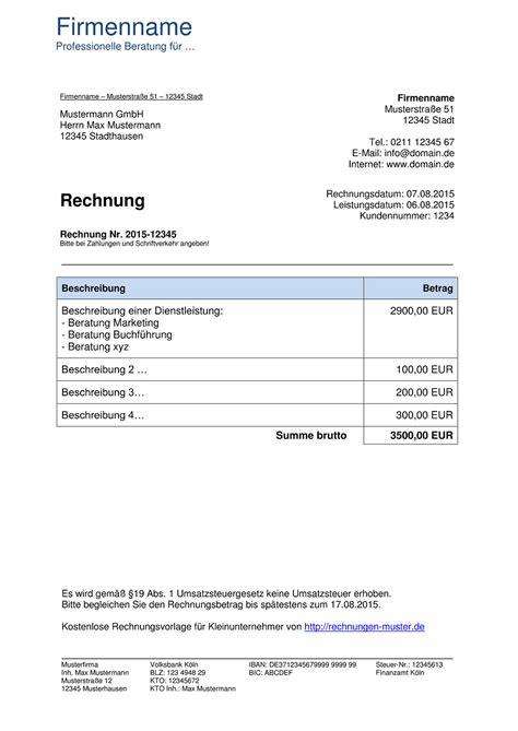 kleinunternehmer rechnung rechnungsvorlagen f 252 r kleinunternehmer
