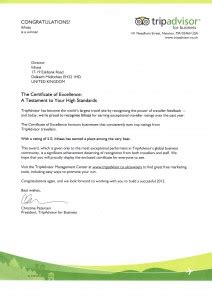 certification letter for business trip our award certificate and letter from trip advisor
