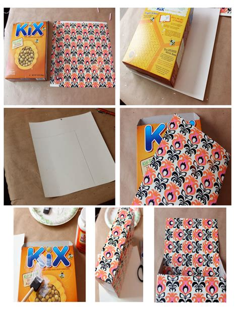 How To Make A Box Using Paper - cereal box upcycled into a magnetic paper bin sohosonnet