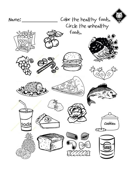 Healthy Snacks Worksheet by Healthy Vs Unhealthy Food Choices Worksheet Use It As A