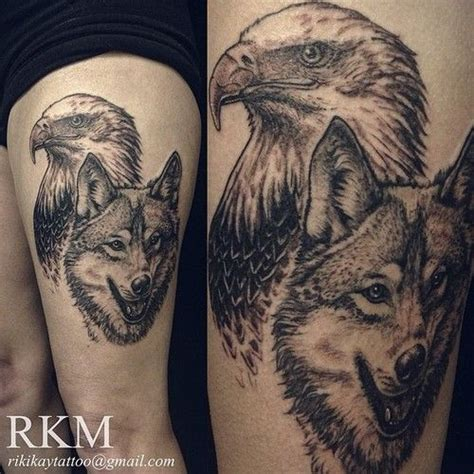 Collection Of 25 Eagle Vs Wolf Tattoo On Back Eagle And Wolf Tattoos