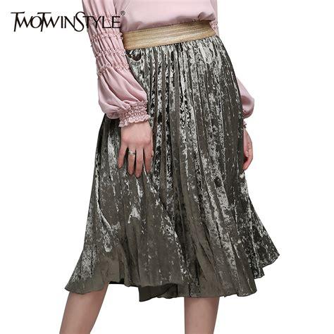 Buy 1 Skirt Get 1 Velvet Wide Skirt aliexpress buy twotwinstyle velvet elastic waist pleated skirts new