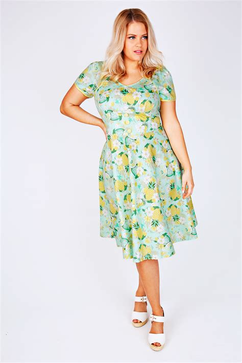 Idw081 Yellow Size 14 5 voodoo vixen mint green yellow tropical print 50 s style