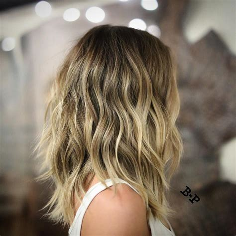 clavicle length ombre hair wavy collarbone length bronde hair with layers medium