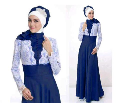 Bustier Kebaya Atasan Baju Wanita Biru Elektrik baju gamis pesta annisa bahan satin kombinasi brokat model terbaru