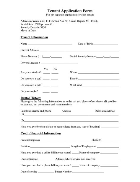 tenant information sheet template best photos of renter information form tenant