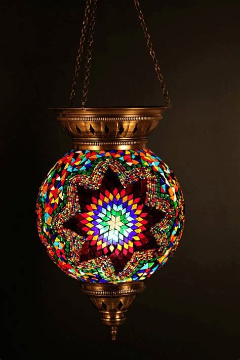 Turkish Light Fixtures Hanging Stained Glass Mosaic Turkish Ottoman Moroccan Lantern L Chandelier Mediterranean