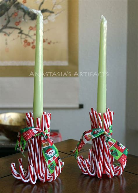 pair reusable candy cane candle holders vintage christmas