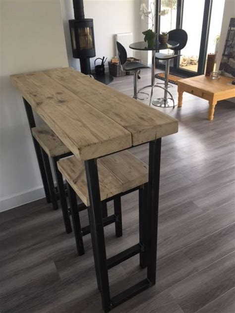 wooden kitchen island legs uk reclaimed wood breakfast bar and two stools www reclaimedbespoke co uk our house