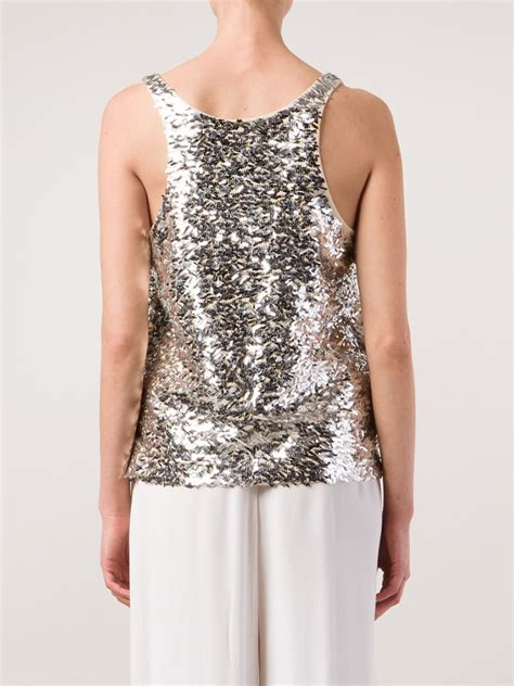 Sale Tallish Top by malene birger sequin embroidered tank top in gray