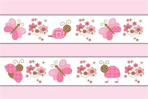 Border Sticker Blue And Brown Line ladybug butterfly wallpaper border wall decal