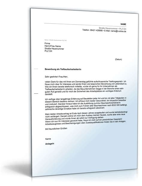 Bewerbung Auf Ausgeschriebene Stelle Anschreiben Bewerbung Tiefbaufacharbeiter Muster Zum