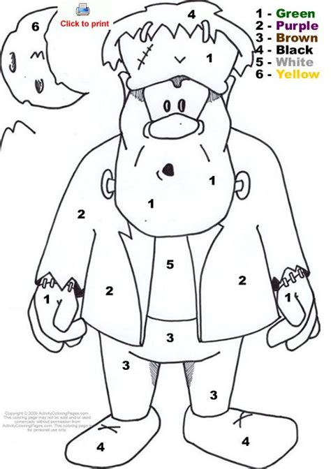 halloween coloring pages by number frankenstein color by number halloween fall color by