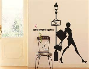 vinyl wall decals wall sticker fashion shopping girl fashion sexy girl shopping background tv home decor wall