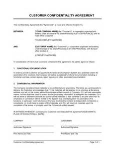 cda agreement template customer confidentiality agreement template sle