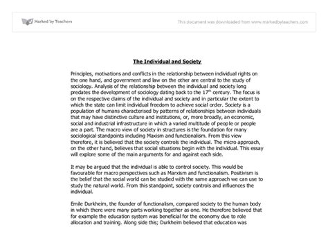 Vs Society Essay by Individual Vs Society A Level Sociology Marked By Teachers