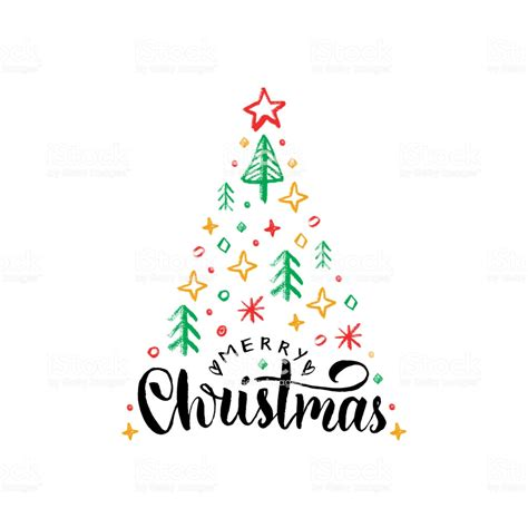 merry christmas lettering  white backgroundvector hand drawn illustration  spruce treehappy