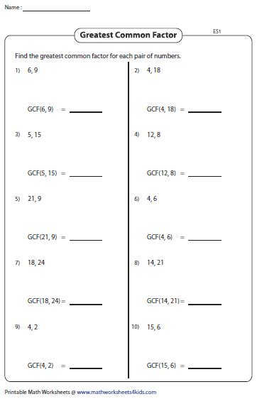 printable math worksheets lcm gcf least common multiple worksheet for 6th grade factors