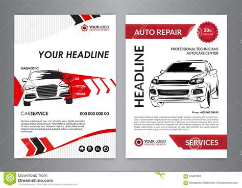 automotive workshop card template set a4 auto repair business layout templates automobile