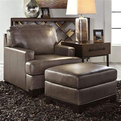 ashley leather chair and ottoman signature design by ashley derwood contemporary leather